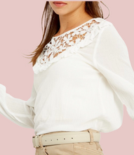 Load image into Gallery viewer, Ivory Floral Lace Yoke Top