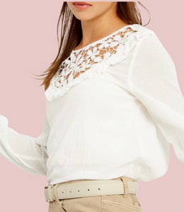 Ivory Floral Lace Yoke Top