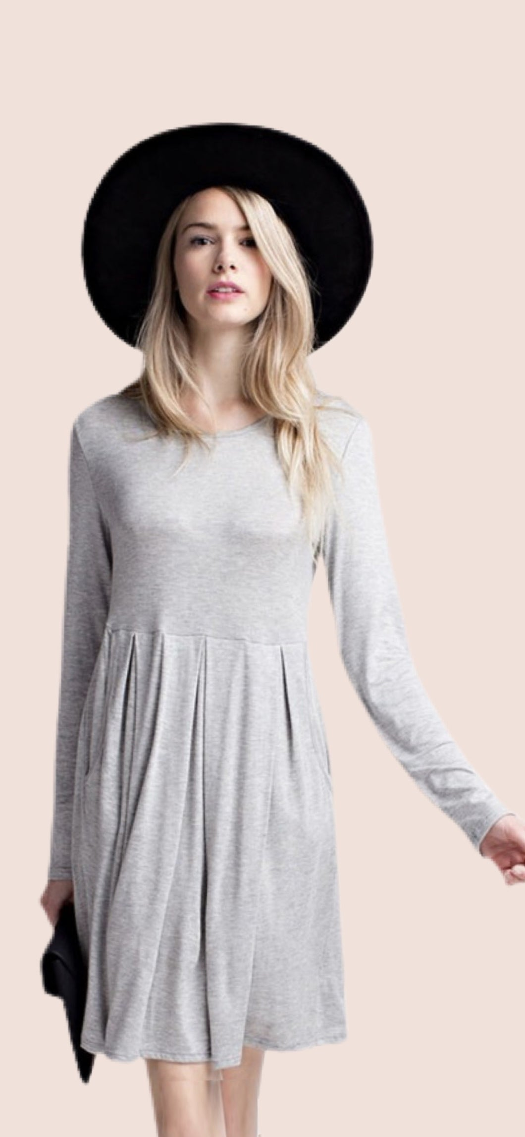 Heather Grey Pleated Dress {S/M/L/XL/1XL/2XL/3XL}
