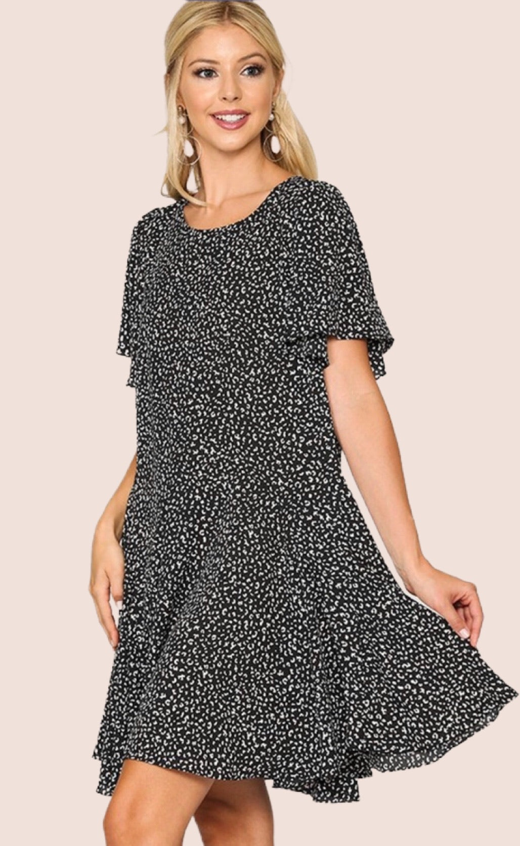 Leopard Flutter Dress {S/M/L}