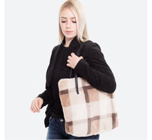 Load image into Gallery viewer, Plush Plaid Tote Bag