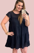 Load image into Gallery viewer, Navy Pinstriped Ruffle Dress {S/M/L}