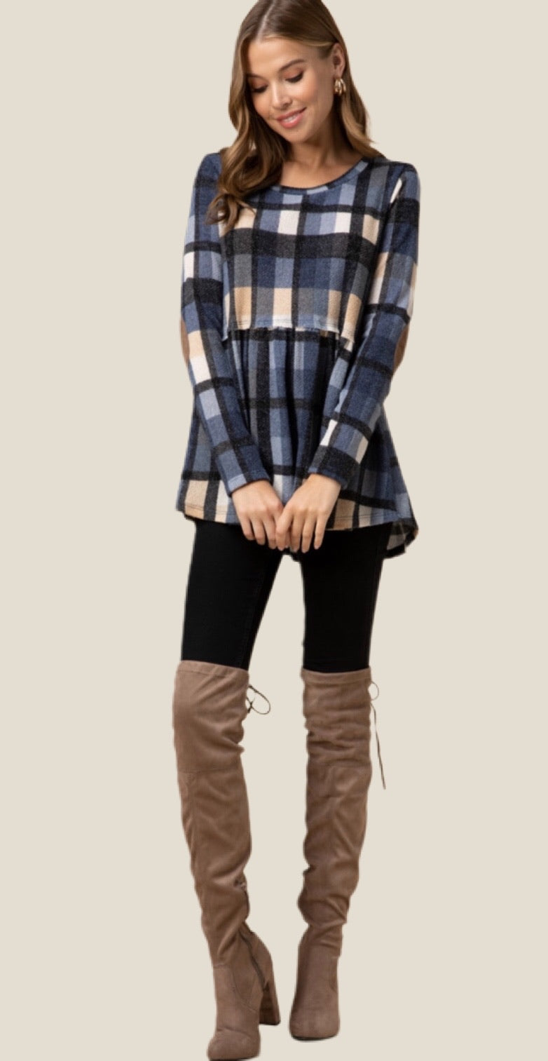 Elbow Patch Plaid Tunic Top