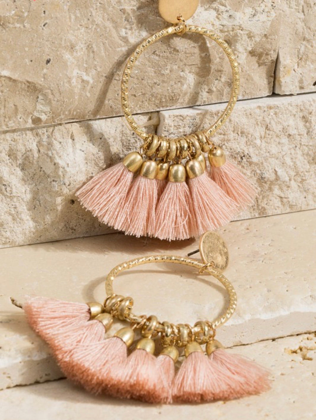 Fine Thread Tassel Earrings {Pink/Ivory/Black}