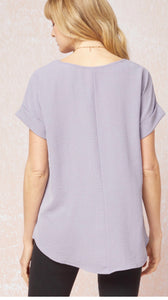 Lavender Rolled Sleeve Top