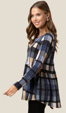 Load image into Gallery viewer, Elbow Patch Plaid Tunic Top