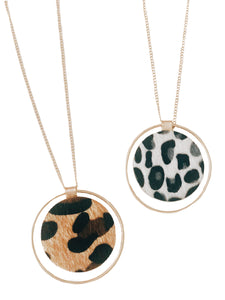 Animal Print Disc Necklace {Ivory/Brown}