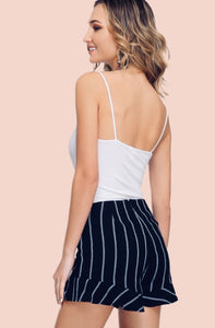 Navy Striped Shorts {S/M/L}