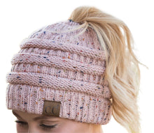 Load image into Gallery viewer, C.C Messy Bun Confetti Beanie