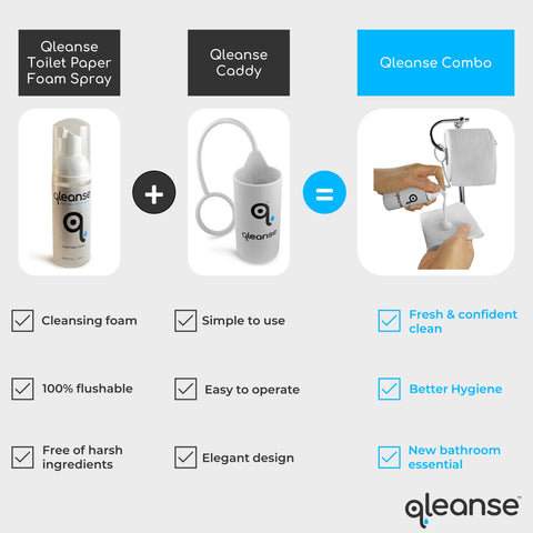 Qleanse Combo Toilet Paper Foam Spray and Caddy