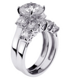 Cubic Zirconia Square and Round 5⅞ CT. T.W. Bridal Ring Set