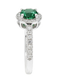 Cubic Zirconia 1 1/4 CT. TW.  Simulated Emerald Halo Ring