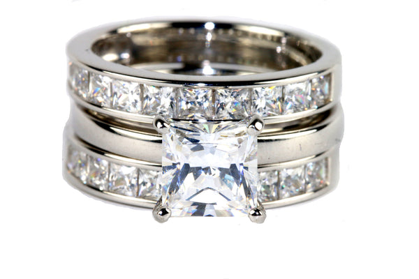 Cubic Zirconia Princess-Cut 6.72 CT. T.W. Bridal Ring and Guard