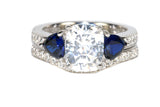 Cubic Zirconia 2 9/10 CT. T.W. Simulated Sapphire Gemstone Bridal Ring Set