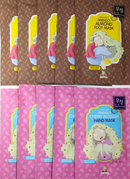 [SALLY'S BOX] Friendly Almond Foot Mask and Cherry Blossom Hand Mask Kit
