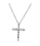 Cubic Zirconia Petite Cross Pendant Necklace With Chain