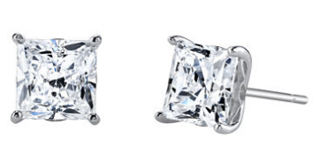 Cubic Zirconia 3.5 CT. T.W. Square Stud Earrings