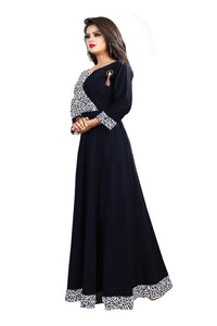 111 vanto black floor lenth Printed gown