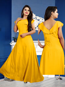 154 Rose Yellow floor length gown size-XL