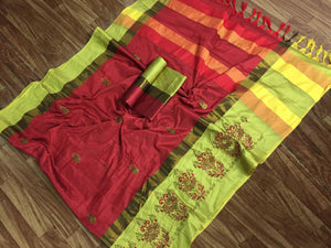 SBT-568-1 Beautiful Flower Embroidery   work Cotton Silk Saree with  Blouse   Piece