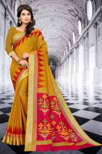 SBT-545-1 Beautiful Digital Printed Linen Saree with Blouse Piece