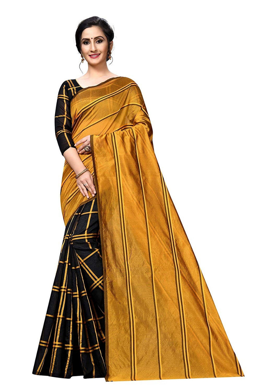 PF-157-2  Beautiful Checks printed Cotton silk saree with   Running blouse piece