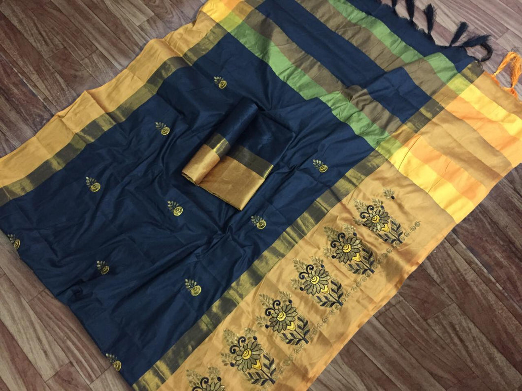 SBT-568-2 Beautiful Flower Embroidery   work Cotton Silk Saree with  Blouse   Piece