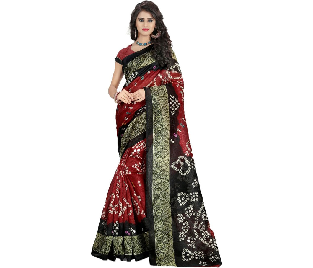 Bandhani-2 Printed Bhagalpuri Saree With Blouse Piece