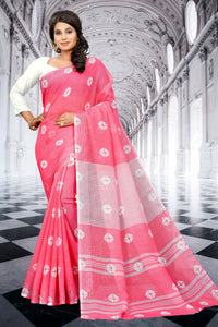 SBT-524-3 Beautiful Digital Linen Saree with Blouse Piece
