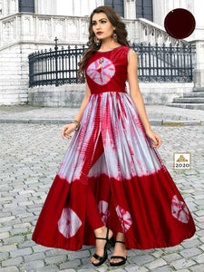 sibori print Floor lenth gown