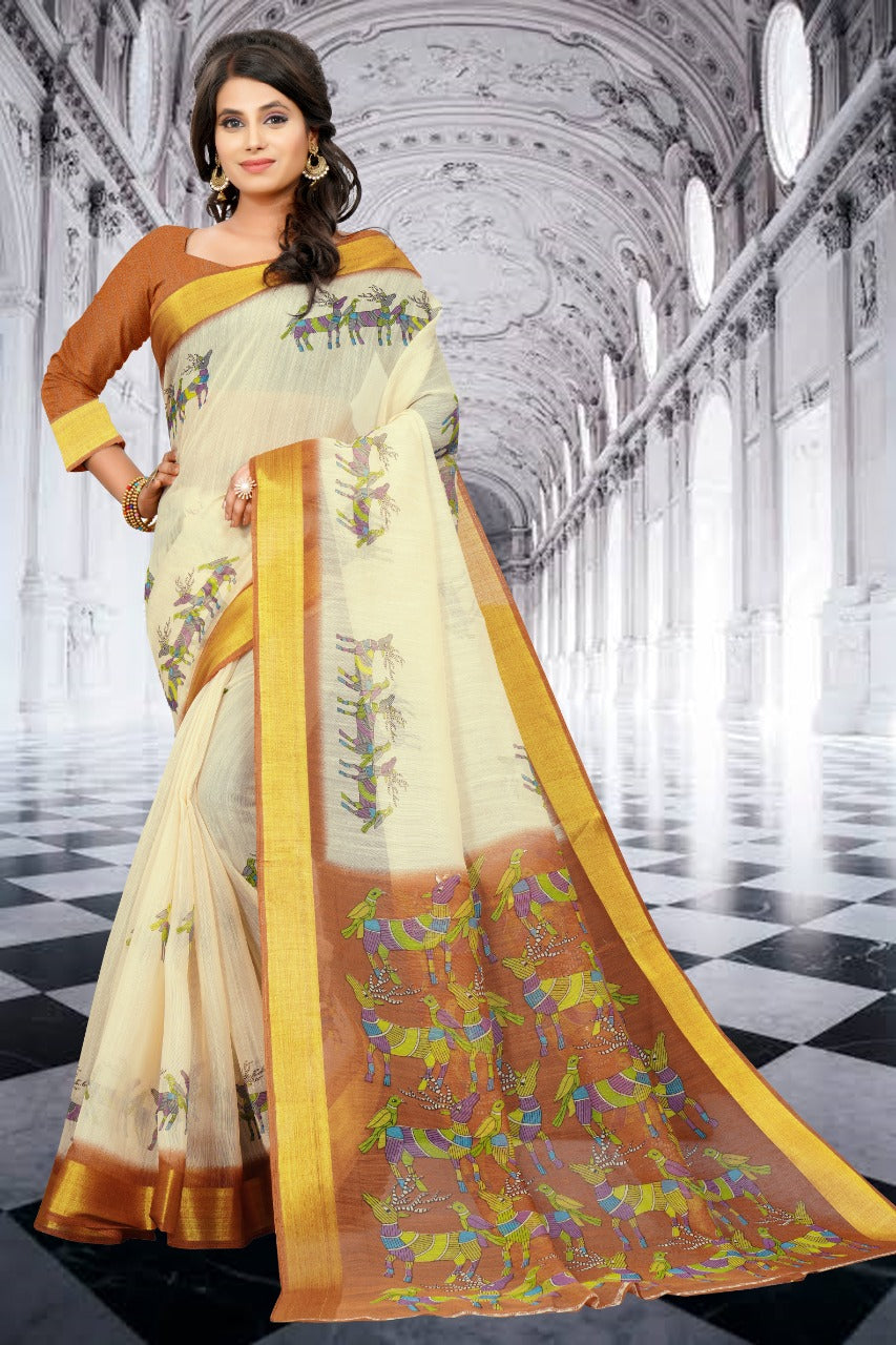 SBT-565-4 Digital printed Cotton Saree