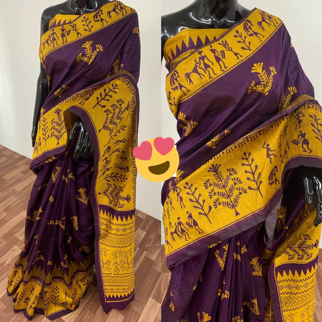 PF-159-6 Beautiful  Printed Khadi Silk Saree with Blouse Piece