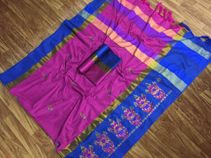 SBT-568-6 Beautiful Flower Embroidery   work Cotton Silk Saree with  Blouse   Piece