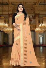 Load image into Gallery viewer, SBT-503-6 Beautiful Mirror work linen saree with Same mirror work Blouse Piece