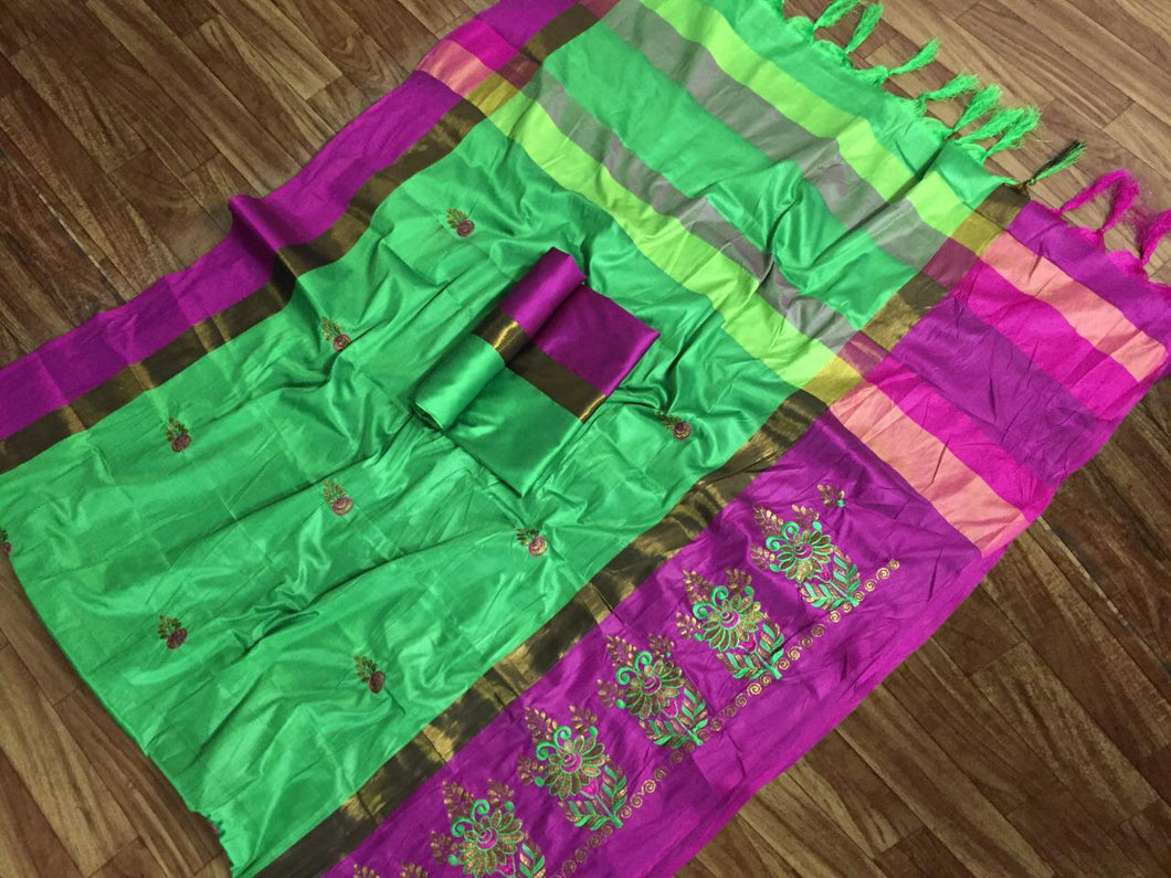 SBT-568-8 Beautiful Flower Embroidery   work Cotton Silk Saree with  Blouse   Piece