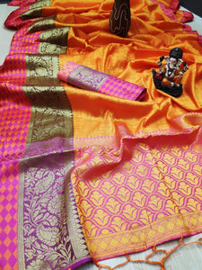 Zara silk  sari with rich pallu