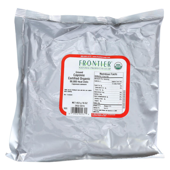 Frontier Herb Chili Pepper - Organic - Cayenne - Ground - 75000 HU - Bulk - 1 lb Pack of 3
