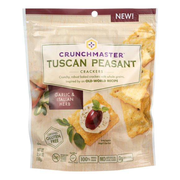 Crunchmaster Crackers - Tuscan Peasant Garlic and Italian Herb - Case of 12 - 3.54 oz.