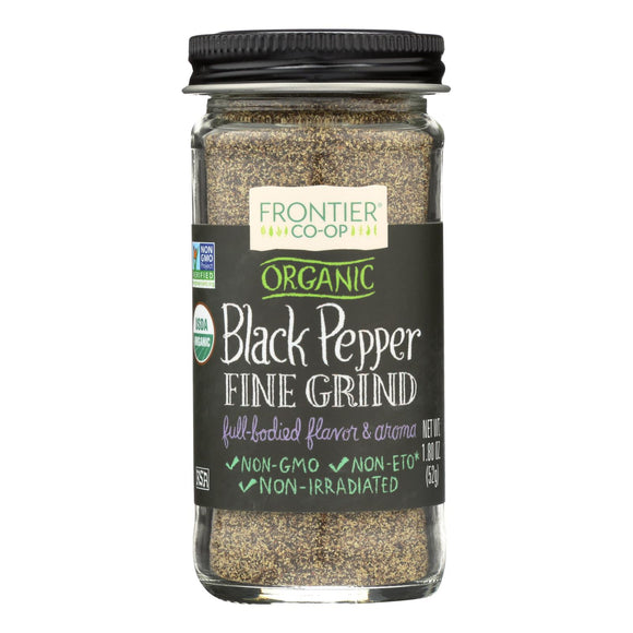 Frontier Herb Pepper - Organic - Black - Fine Grind - L M Grade - 1.8 oz Pack of 3