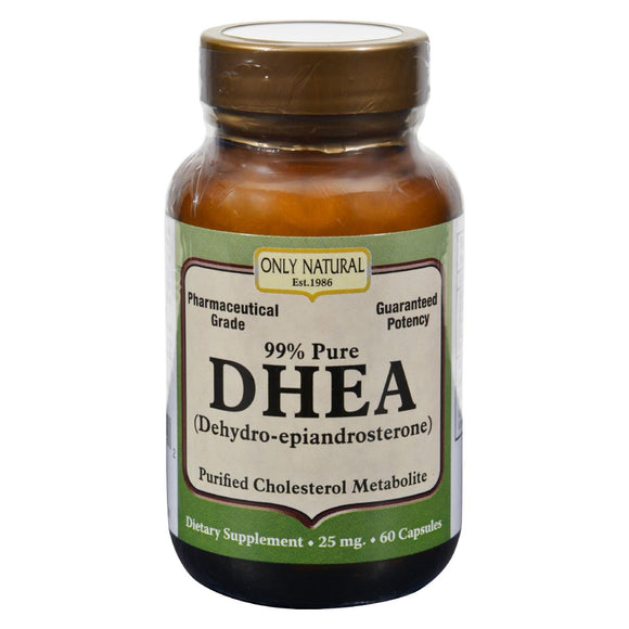 Only Natural DHEA - 25 mg - 60 Capsules Pack of 3
