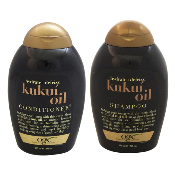 OGX Hydrate and Defrizz Kukui Oil Shampoo and Conditioner Kit by Organix for Unisex - 2 Pc Kit 13oz Pack of 3
