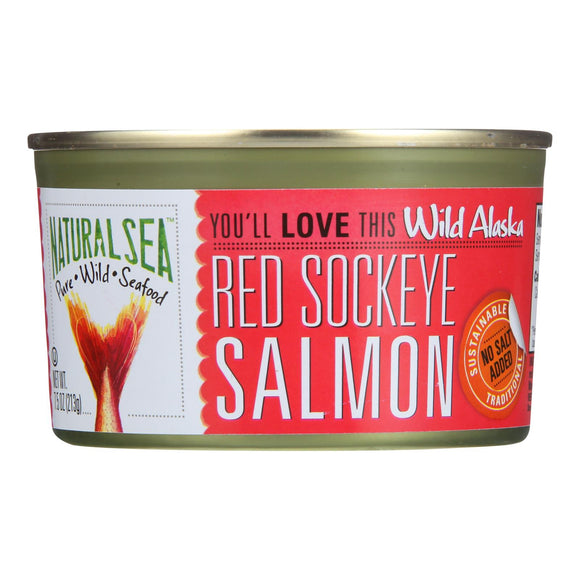 Natural Sea Wild Sockeye Salmon - Unsalted - 7.5 oz. Pack of 3