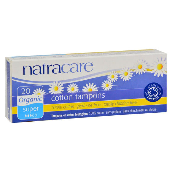 Natracare 100% Organic Cotton Tampons Super - 20 Tampons Pack of 3