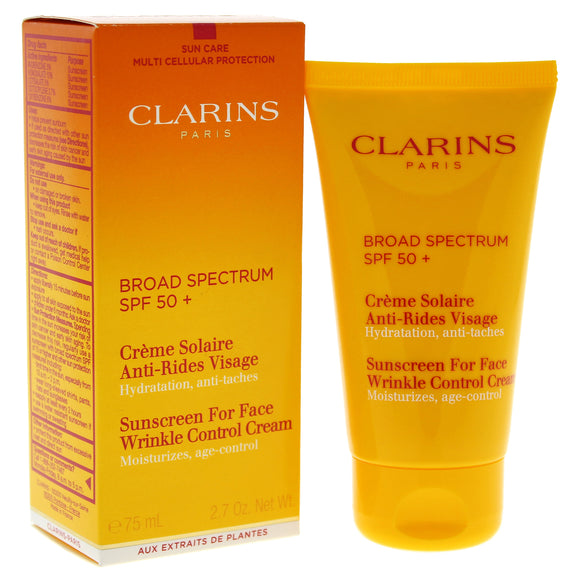 Sunscreen For Face Wrinkle Control Cream SPF 50 by Clarins for Unisex - 2.7 oz Sunscreen Pack of 3