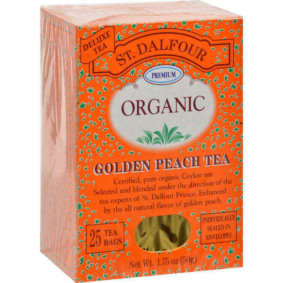 St Dalfour Organic Tea Golden Peach - 25 Tea Bags Pack of 3
