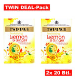 Twining's Tea Green Tea - Lemon and Ginger - Case of 6 - 20 Bags