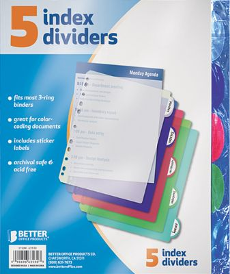 Dividers Poly 5Pk With Tabs Pack of 3