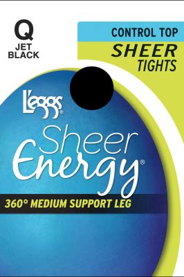 Leggs Shr Enrgy Tght Jet Blk Q Pack of 3