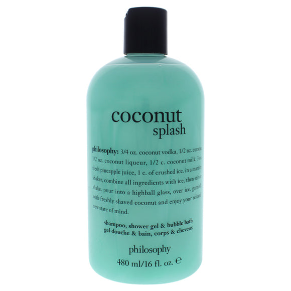 Coconut Splash by Philosophy for Unisex - 16 oz Shampoo, Shower Gel and Bubble Bath Pack of 3