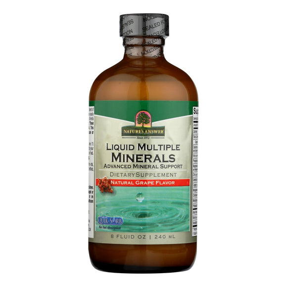 Nature's Answer - Liquid Multiple Minerals Iron Free Natural Grape - 8 fl oz Pack of 3